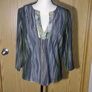 BCBGMaxAzria Striped Earth Tone Floral Tunic Top
